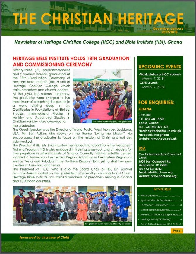 HCC Newsletter Dec-Jan 2018