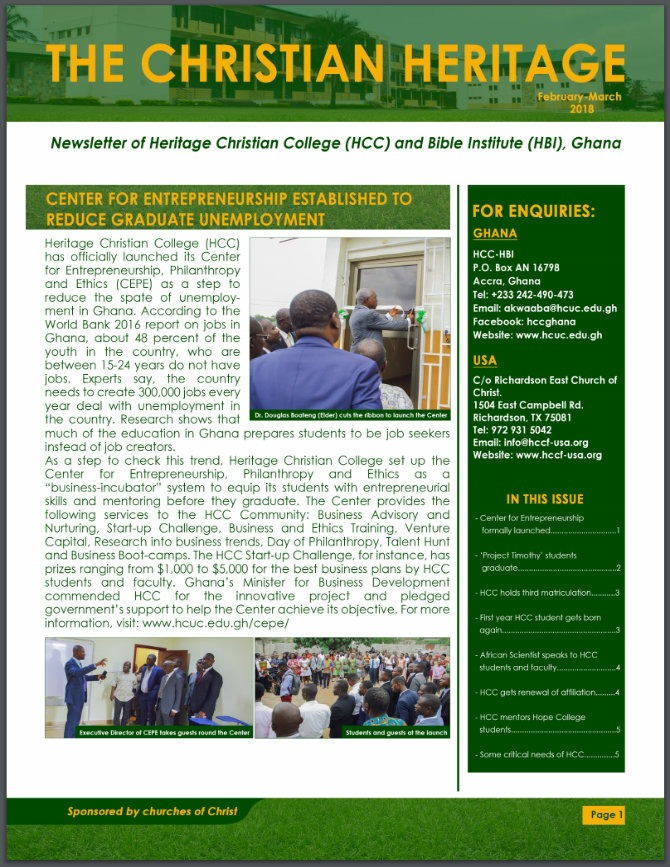 HCC Newsletter February/March 2018
